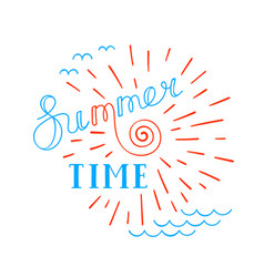 summer time lettering logo hand drawn typographic vector image
