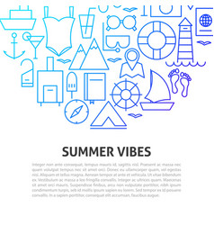 summer vibes line concept vector image