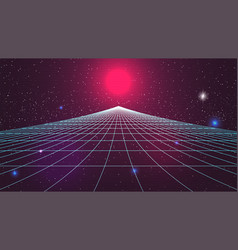 Synthwave sunset background retro future 80s vector