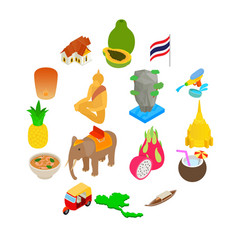 thailand icons set isometric 3d style vector image