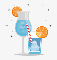 tropical cocktails drinks with oranges vector image