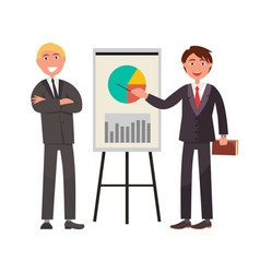 Two businessman in expensive suit showing on chart vector