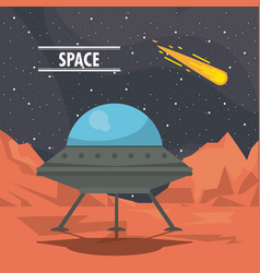 ufo spaceship on mars vector image
