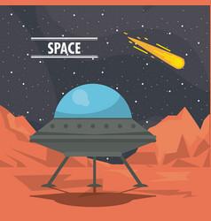 ufo spaceship on mars vector image
