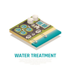 water treatment isometric composition vector image