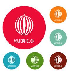 watermelon icons circle set vector image