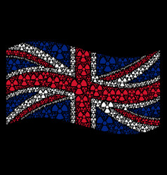 Waving great britain flag pattern of radioactivity vector