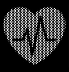 White pixel cardiology icon vector