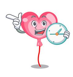 with clock ballon heart character cartoon vector image
