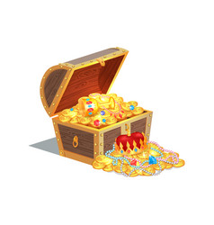Wooden chest full of ancient royal shiny tresures vector
