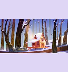 wooden stilt house in winter forest shack in snow vector image