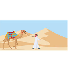 Young arab guy walking his camel trough desert vector