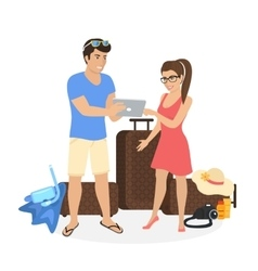 Young couple standing near luggage and using vector image