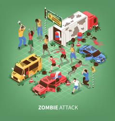 zombie apocalypse isometric background vector image
