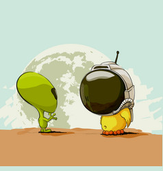 alien and chicken on the background of the earth vector image vector image