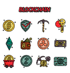 blockchain flat icons set vector image vector image