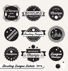 Bowling League Champs Labels vector image vector image