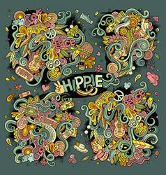 Colorful set of hippie doodles designs vector