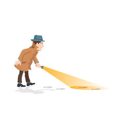 detective holding a flashlight vector image vector image