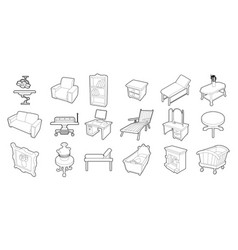 furniture icon set outline style vector image
