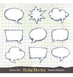hand drawn speech bubbles vector image vector image