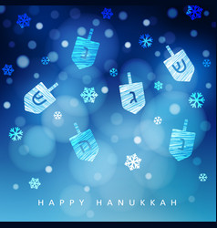 hanukkah blue background with falling snow light vector image vector image