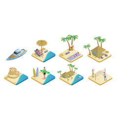 isometric summer beach elements set vector image