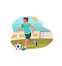 soccer player plays football vector image