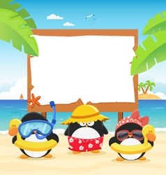 Summer Penguins With Billboard vector image vector image