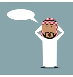 Surprised arabian businessman with speech bubble vector image