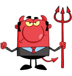Angry Devil With A Trident vector image vector image
