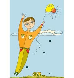 boy fly balloon vector image vector image