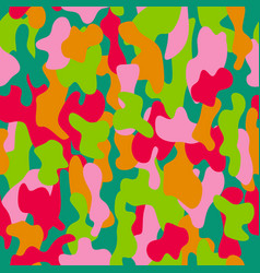 camouflage seamless pattern in red pink green vector image vector image