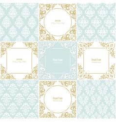 elegant frames and damask seamless patterns set vector image vector image