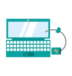 Laptop device technology digital cable charger vector
