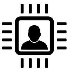 neuro processor flat icon vector image vector image