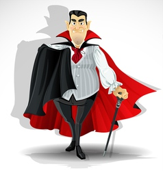 Skilled old vampire in cape and with walking stick vector image