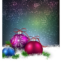 Winter background with christmas balls vector image vector image
