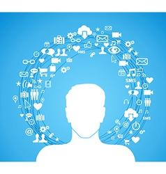 Active social media man vector image vector image