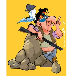 cartoon Injun with a gun is leaning on the stone vector image vector image