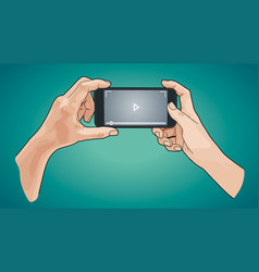 hands holding phone sketch style vector image