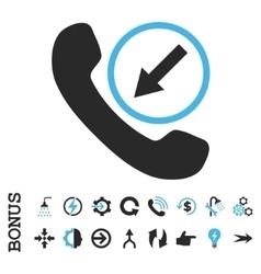 Incoming Call Flat Icon With Bonus vector image