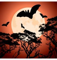 moon trees and bats vector image