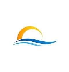 Abstract water beach sunset logo vector
