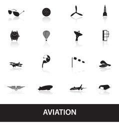 aviation icons set eps10 vector image