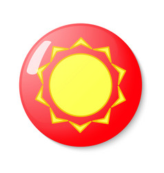Button with the emblem of the sun vector