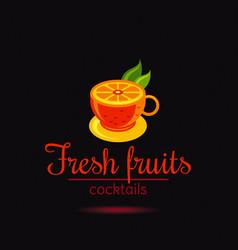 Fresh fruit drink bar logo icon flat juice vector