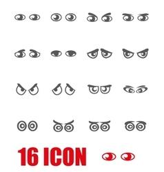 grey cartoon eyes icon set vector image