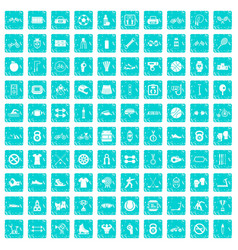 100 sport icons set grunge blue vector
