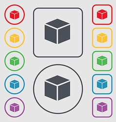 3d cube icon sign symbol on the Round and square vector